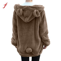 2017 Autumn Cute Hot Sleeve Girl Winter Coat Loose Snapper Hoodie Rugged Jacket Cute Sweater Hoodie Jackets Casual Plus Size