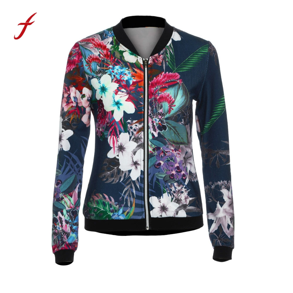 2017 Hot sale fall women basic coats Ladies bomber jacket Flower FLoral Print Zipper Up Jacket women Biker Celeb Camo Bomber