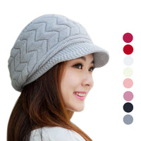 Fashion 2017 Women Hat Winter Skullies Beanies Knitted Hats Gorros Mujer Invierno Rabbit Fur Cap Casquette Homme #1