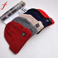 Feitong Brand Basic Beanies Women Winter Warm Hat Cartoon Smiling Face Knitted Solid Colors Gorros Bonnet Femme drop shipping