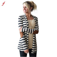 2017 Winter Fashion Outerwear Women Long Sleeve Stripped Casual Strip Patchwork Womens Cardigans Coat Sweater For Women MiMi