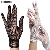 2017 Fishion Women Summer UV-Proof Driving Gloves Mesh Breathable Fishnet Gloves Black and White #EW