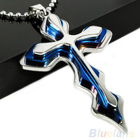 Bluelans necklaces pendants Men's Silver Blue Stainless Steel Cross Pendant W/ Free Chain Necklace  00GQ