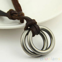 Bluelans Retro Hot Sale Circle Charm Pendant Brown Genuine Leather Necklace Cord Men's Women's  000C 01EC