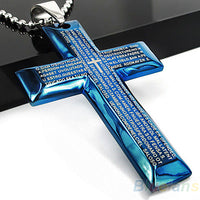 Bluelans Men's Jewelry Black Blue Spanish Letter Stainless Steel Bible Cross Pendant Chain Necklace Hot Selling