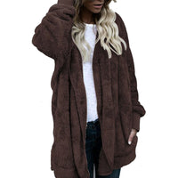New Elegant faux fur coat women soft warm long sleeve female outerwear chic autumn winter coat jacket overcoat women tops