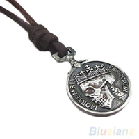 Bluelans Fashion Men's Charms Vintage Silver Skull Pendant Genuine Leather Necklace necklaces pendants 01EK