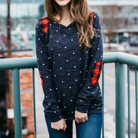 2017 New Fashion Womens Casual Long Sleeve Block Patch Polka Dot O-neck Pullover TopT-shirt #20