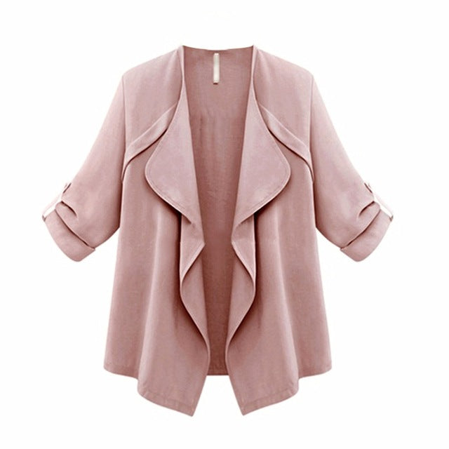 2017 European Style Coat Open Front Solid Long Sleeve Loose Cardigan Outerwear Top Women Fashion Spring Autumn Trench Plus Size