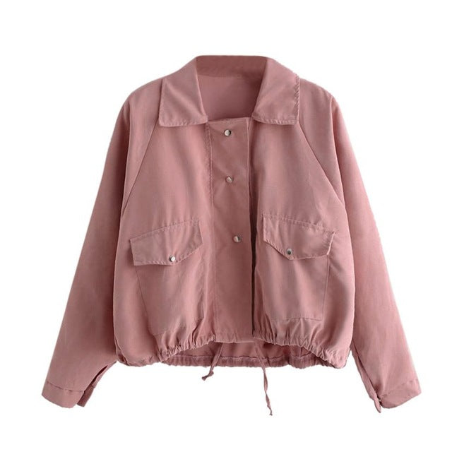 2017 Fashion Pretty Bomber jacket Women Autumn Fashion Short Pink Button Coat women Pocket Jacket Cardigan winter jacket women
