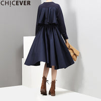 CHICEVER 2017 Autumn Black Cloak Party Dress Female Long Sleeve Loose Big Swing Women Dresses Clothes Fashion Vestidos New