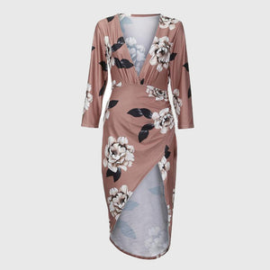 V Neck Dresses Floral Print Bodycon Split Irregular Dress