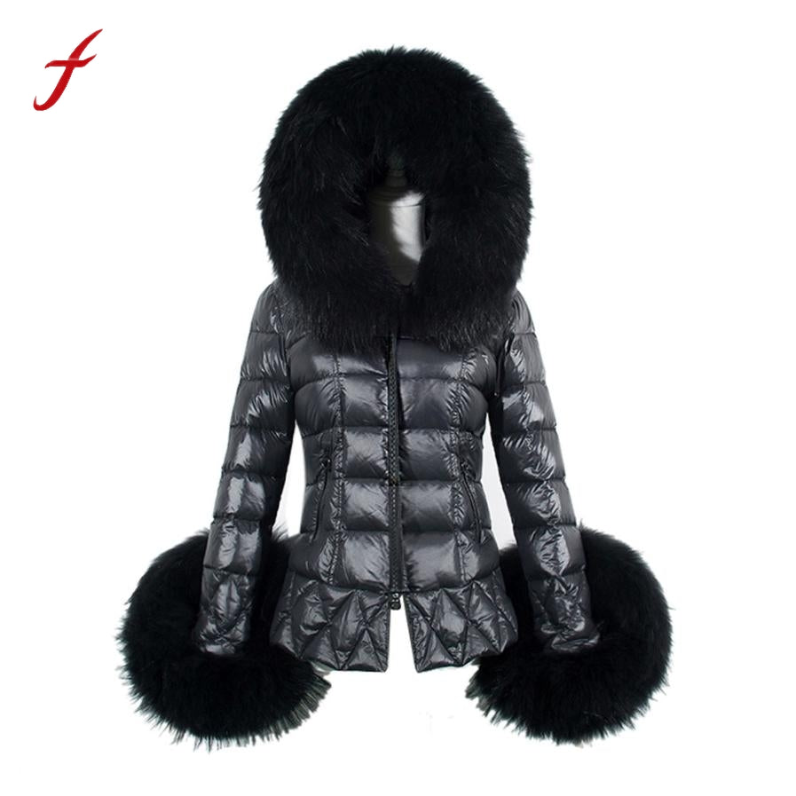 2017 New Winter Women's Down jacket Cotton Parka Short Fur Collar Hooded Coat Quilted Jacket Female Warm Fashion jacket coat