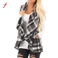 2017 Real Feitong Brand Clothing Women Lapel Open Front Sleeveless Plaid Cashmere Jacket Harajuku Kpop Cardigan With Coat Warm