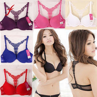 Feitong 7 Colors Sexy Women Bra Underwear Solid Front Closure Womens Lace Racer Back Racerback Push Up Bra Women Cup 70B-80B