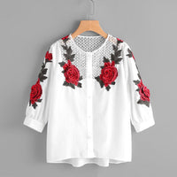 Autumn 2017 New Fashion Floral White Women Tops Long Sleeve Rose Embroidery Womens Blouses Office Lady Elegant Shirts #913