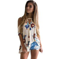 Vintage Floral Printed Women Blouses 2017 Summer  Off Shoulder Shirts Casual V Neck Cold Shoulder Blouses Femininas Tops #706