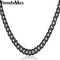 Trendsmax 3/5/7/9/11mm Custom Womens Mens Chain Stainless Steel Necklace Black Curb Cuban Fashion Jewelry KNM09