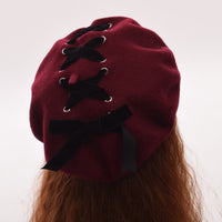 1pc Girls Cute Lolita Beret Hat Headwear Vintage Velvet Lace-up Painting Cap Beanie
