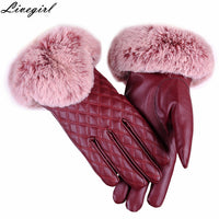 1 Pair Woman Fashion Lady PU Leather Gloves Autumn Winter Warm Faux Fur Female Gloves Guanti Invernali Donna