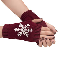 2017 Fashion Female Gloves Winter Knitted Wool Half Finger Mitten Soft Snowflake Solid Wrist Women's Slim Gloves