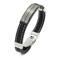 Bluelans Trendy Black Silver Stainless Steel Cuff Rubber Wristband Men Bracelet Boys Cool Bangle