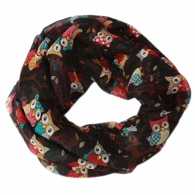 2017 Hot Sale Women Ladies Owl Pattern Print Scarf Warm Wrap Shawl Scarves Women Wrap Lady Shawl  Soft Thin Chiffon