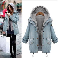 Plus Size Big fur winter coat thickened parka Women Warm Collar Hooded Coat Jacket Denim Trench Parka Outwear High Quality
