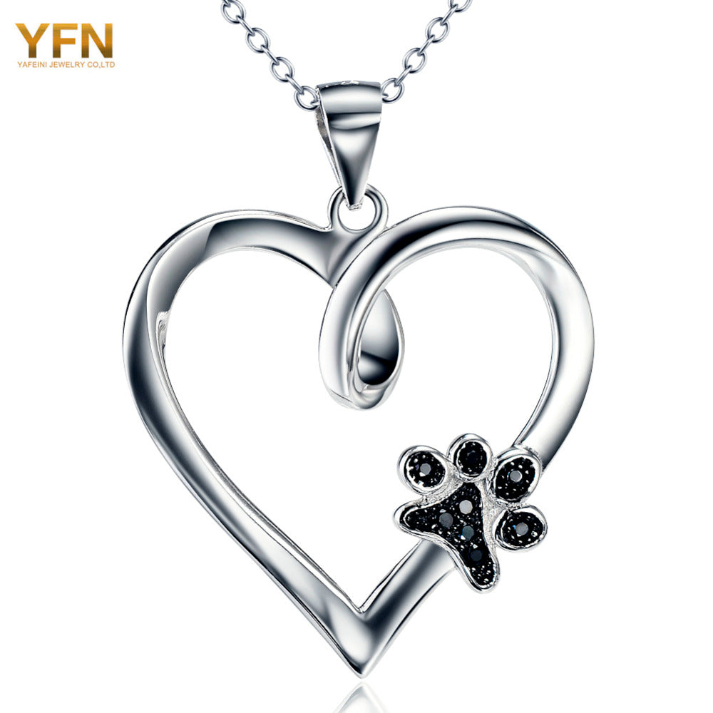 YFN Brand Necklace 925 Sterling Silver Heart Necklaces With Black CZ Dog Paw Fashion Jewelry Best Gifts For Women GNX10879