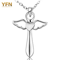 YFN Genuine 925 Sterling Silver Cross Necklace Fashion Jewelry Angel Wings With A Heart Pendants Necklaces Holiday Sale GNX8780