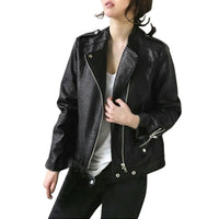Women Autumn Thick Leather Motorcycle Jacket Overcoat Coat Zipper Tops Coat