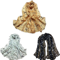 2017 Hot Sale 1PC Women Lady Musical Note Chiffon Neck Scarf Shawl Muffler Scarves Very popular Extra Soft extra warm
