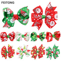10PC children bow tie hairpin 10 Pieces Girl Baby Christmas Ornaments Bowknot Hairpin Headdress #45