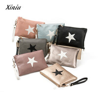 Designer Women Handbag Female PU Leather Women Stars Envelope Bag Zipper Coin Purse Wallet Card Holders Handbag