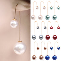 2016 Women U-Shaped Double Sided Faux Pearl Ball Drop Dangle Earrings Party Jewelry  ARD7