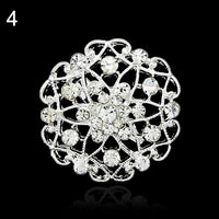 2016 Flower Heart Rhinestone Silver Plated Brooch Pin Wedding Bridal Broach Breastpin ARXL