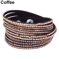 2016 Women 12 Layers Shiny Rhinestones Cool Cuff Bangle   Faux Leather Bracelet ASBN