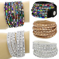 2016 Unisex Women's Men's Fashion Multi-Layers Rhinestones Faux Leather   Bangle Bracelet ASM3