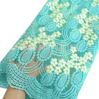 2016 New Arrival African Cord Lace Fabric African Net Lace Aqua High Quality French Fabric with Stones Embroidery for dress
