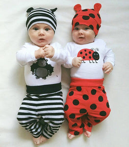Baby Clothing Set Infants Long Sleeve Baby Romper+Pants+Hat 3pcs suit Newborn Baby Boys Girls Clothes