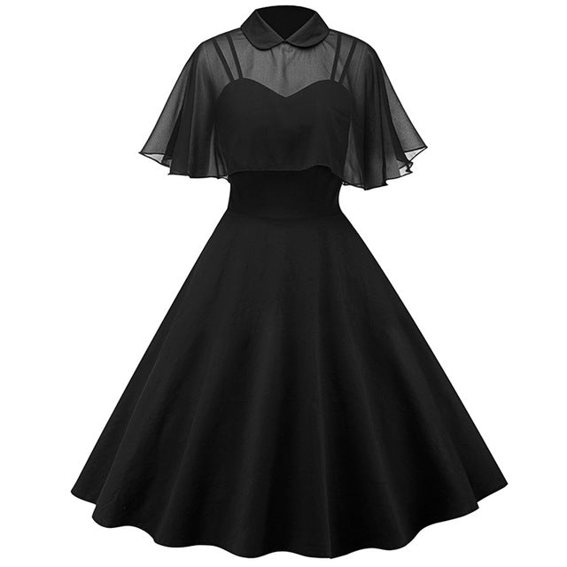 1950s Vintage Dress Party Patchwork Strapless Spring Women Summer Peter Pan Collar Sleeveless Sexy Elegant A-Line Dresses Robe