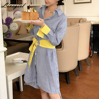 2017 Fashion Shirt Dress Striped Dresses Women Batwing Sleeve Loose Wide Sashes Color Block Vestido Dress Female