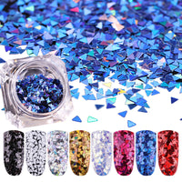 1 Box Nail Glitter Sequins Paillette Laser Triangle 3D Nail Art Decoration UV Gel Tips Manicure DIY Nail Glitter Sequins Decor