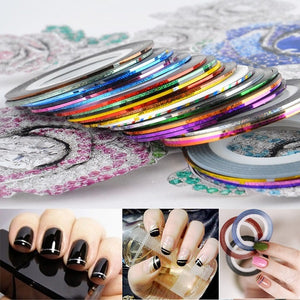 30pcs Mixed Color Nail Striping Tape Decal For DIY 3D Variety Nail Art Tips Decorations Nail Line Foil nail Sticker Pretend Play