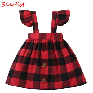 Baby Girls Dress Summer Autumn Belt Dresses Ruffle Sleeved Red Plaid Christmas Dress Baby Girl Clothes