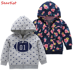 Girls Boys Hooded Sweatshirt Newborn Floral Zipper Hoodies Toddler Outfits Coat Jacket Baby Girl Boy Clothes