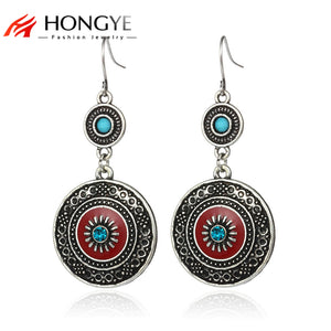 2018 Ethnic Silver Drop Earrings Vintage Carved Red Enameling Crystal Resin Beads Big Hook Dangling Earrings Women Pendientes