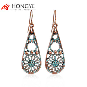 Brincos Vintage Earrings for Women 2018 New Arrival Jewelry Antique Gold-Color Flower Hollow Out Drop Earrings Indian Jewelry
