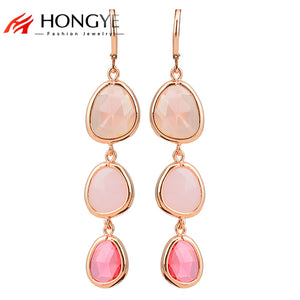 2018 New Fashion Dangle Long Earrings Fashion Jewelry Charms Colorful Crystal Resin Stone Long Drop Pink Earrings For Women Girl