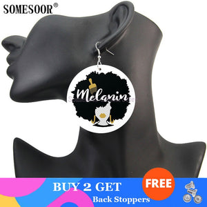 Blessed Black Woman Wooden Drop Earrings